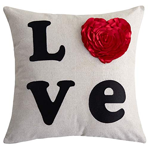 Cassiel Home Embroidery Love Rose Heart Shaped Throw Pillow Cover 18x18 Applique Decorative Silver Linen for Birthday Anniversary Show Your Love