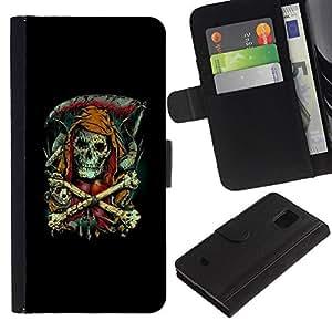 KLONGSHOP // Tirón de la caja Cartera de cuero con ranuras para tarjetas - Parca - Goth Esqueleto - Samsung Galaxy S5 Mini, SM-G800 //