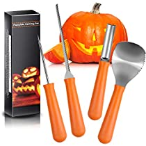 Halloween Pumpkin Carving Kit, Terresa 4 Piece Sturdy Stainless Steel Tool with 10 Pcs Pumpkin Carving Pattern Halloween Professional Pumpkin Stencils Kit for Jack-O-Lanterns