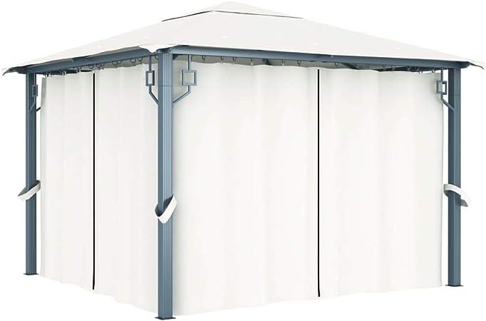 UnfadeMemory Cenador Jardin Exterior on Cortinas para Bodas Barbacoas Camping,Carpa Jardin,Tienda para Fiestas,con Pantallas de Malla,Estructura de Aluminio y Acero (Crema, 300x300x270cm): Amazon.es: Hogar
