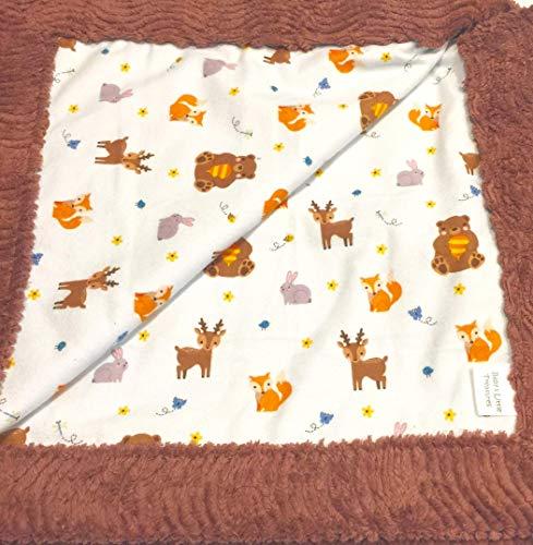 - Brown Chenille Woodland Animals Flannel Blanket