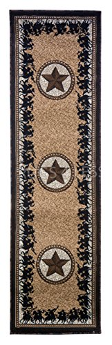 Texas Boot Camp (Rugs 4 Less Collection Texas Lone Star State And Riding American Cowboys And Patriots Novelty Area Rug Beige Light Brown 726 (2'x7'))