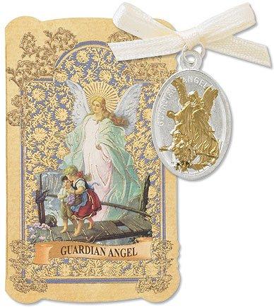 Catholic Christian Gift Prayer Folder with Guardian Angel Tu Silver Tone Charm Medal Pendant