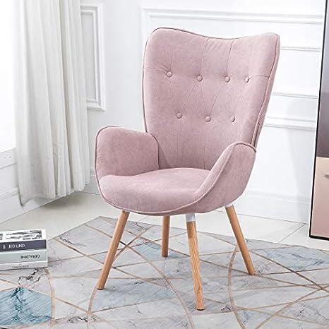 Queen Anne Casa - Sillón de estilo escandinavo con revestimiento de tela rosa, reposabrazos rellenos y patas de madera maciza de haya.