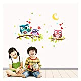 ♚Rendodon♚ Wall Sticker, Home Decor, Owl Pattern Decorative Wall Sticker, Removable Waterproof Cartoon Animal Owl Wall Sticker for Kids Rooms Home Decor (Multicolor)