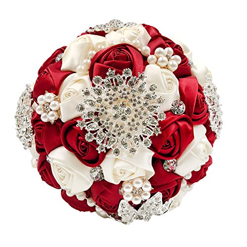 (Abbie Home Bride Wedding Bouquet in Burgundy & White Rose with Pearls and Rhinestone Brooches Accessories-Multi Color Selection (453RB))