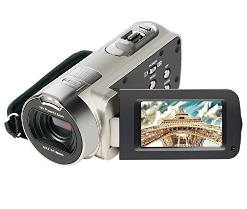 Camera Camcorder, Besteker HD 1080P 24MP 16X Digital Zoom Video Camcorders with 270 Degree Rotation Screen