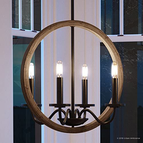 Luxury Modern Farmhouse Chandelier, Medium Size 30 H x 15.75 W, with English Country Style Elements, Olde Bronze Finish, UHP2376 from The Dunkirk Collection by Urban Ambiance