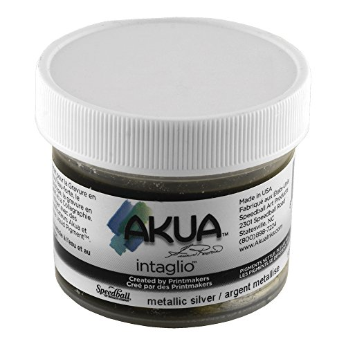 Akua Intaglio Print Making Ink, 2 oz Jar, Metallic Silver (IIMS2) by Akua