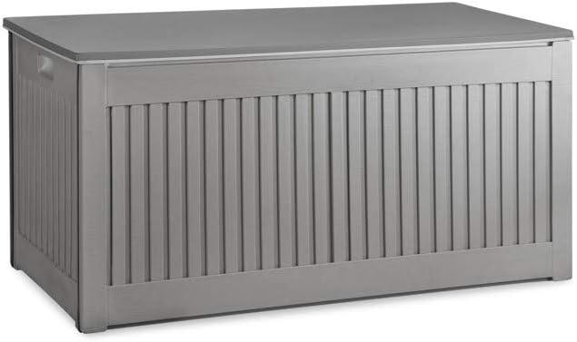Emplacement pour Cadenas 909 OUTDOOR Coffre de Rangement ext/érieur Blanc Premium capacit/é 270L r/ésistant aux intemp/éries et au UV bo/îte de Stockage et Banc en polypropyl/ène pour Le Jardin