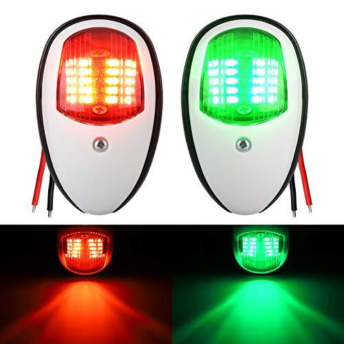 LED Boat Navigation Lights, Marine Bow Front Side Light Stainless 12V Sailing Signal Lights for Port, Starboard, Pontoons, Chandlery Boat, Yacht, Skeeter ()