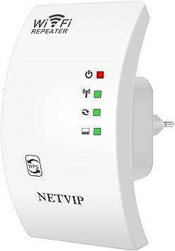 NETVIP Repetidor de Red WiFi 300Mbps/ 2.4GHz Amplificador Señal WiFi de Cobertura Repetidor WiFi Inalámbrico Repetidor WiFi Extensor de Rango WiFi ...