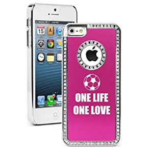 Apple iPhone 5c Hot Pink CS1757 Rhinestone Crystal Bling Aluminum Plated Hard Case Cover One Life Soccer