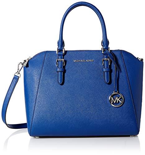 - Michael Kors Ciara Large Top Zip Satchel Saffiano Leather Crossbody Bag Purse Handbag (Sapphire)