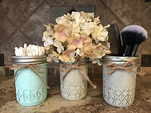 Lodge Toilet Brush - Mason Canning Hand PAINTED Mini Quilted 8oz JAR ONLY ~ Q-Tip Holder, Cosmetic Beauty Brush Holder, Kitchen Bathroom Decor ~ Distressed ~Gray Grey Seafoam Teal Blue Green Cream Brown Tan