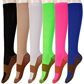 c5ff9c219 Graduated Copper Compression Socks 6 Pairs Anti Fatigue Knee High Socks For  Men Women Pain Ache Relief Stockings-15-20 mmHg (S M