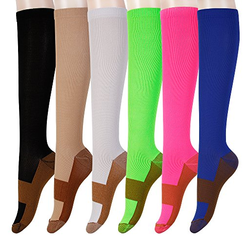 ated 3 PAIR Compression Socks - Women & Men - Best For Running, Athletic Sports, Crossfit, Flight Travel - Stockings for Nurses, Maternity Pregnancy, Shin Splints, Edema -COLOR XXL (Red Cross Nursing Shoes)