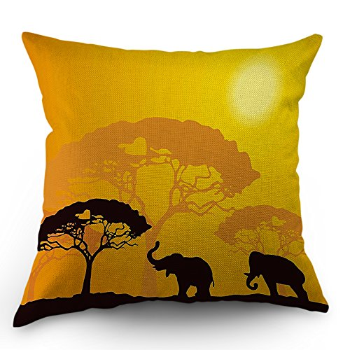 Moslion Elephant Pillow Cover African Wild Animals Elephants Sunlight Tree Throw Pillow Case 18 x 18 Inch Cotton Linen Decorative Square Cushion Cover for Valentine's Day Sofa Bed Yellow Black