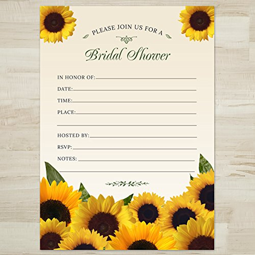 Amazon Com Rustic Sunflowers Bridal Shower Invitation 10 Fill In