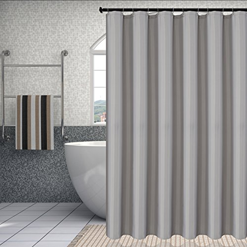 Fabric Shower Curtain Liner Waterproof Antibacterial Water Resistant Bathroom Curtain Set (Mold and Mildew Resistant), Silver Grey, 72 by 72 Inch, includes 12 Hooks