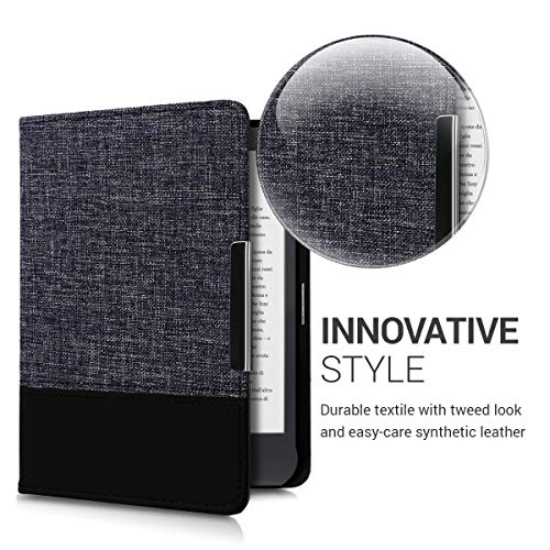 kwmobile Case Compatible with Kobo Clara HD - PU Leather and Canvas e-Reader Cover - Anthracite/Black
