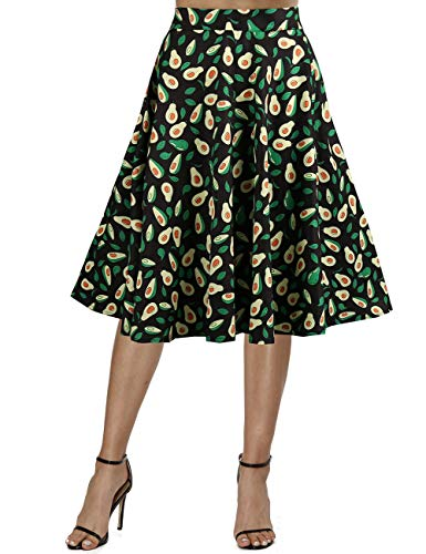 Skirt Avocado - Fancyqube Women's Vintage Pleated A-line Skirt Retro Floral Avocado Sloth Midi Skirt (L, Multicolor-Avocado)