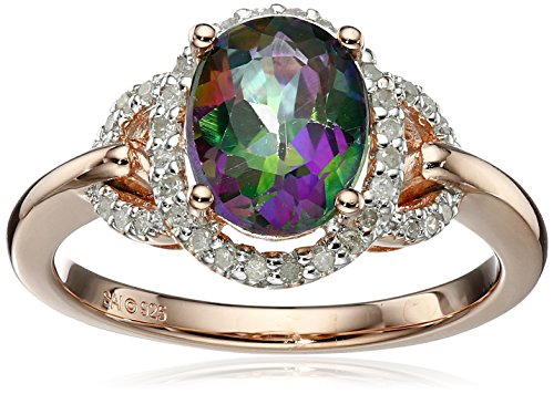 Mystic Collection (Sterling Silver with Pink Gold-Plated Mystic Fire Topaz and Created White Sapphire Ring, Size)