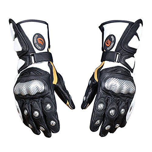 Riding Tribe Motorcycle Genuine Goat Leather Gloves Built-in Carbon Fibre Protection Gears (L, Black)