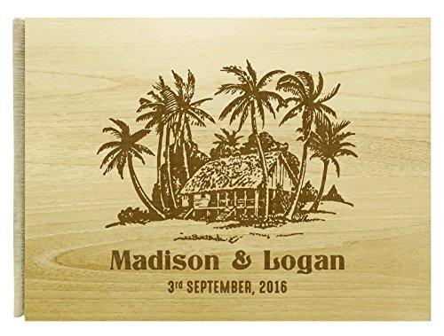 Handmade Beach House Personalized Name Engraved Wood Wedding Guestbook Bride & Groom Rustic Guest Book - 50 Pages