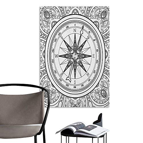 Wall Mural Wallpaper Stickers Compass Hand Drawn Windrose in Line Art Style Nautical Illustration Coloring Book Design Black White for Kids Rooms Boy Room W32 x H48