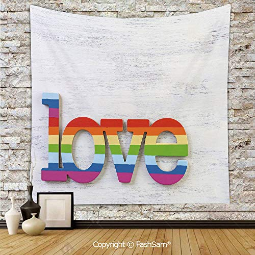 FashSam Tapestry Wall Hanging Rainbow Colored Love Sign