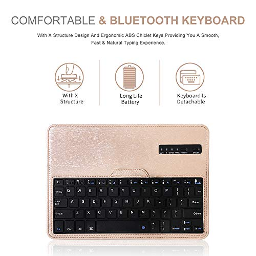 iPad 9.7 Keyboard Case for 2018 6th Gen,2017 5th Gen,iPad Pro 9.7 inch, iPad Air 2& 1, 360 Rotatable,Built-in Magnet,Removable Wireless Bluetooth Keyboard, Case with Keyboard for iPad 9.7 inch (Gold)