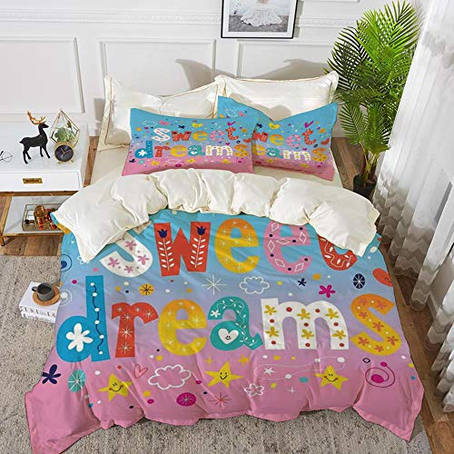 (Yaoni Bedding - Duvet Cover Set,Kids,Sweet Dreams Colorful Ombre Stars Flowers Clouds Hearts Funny Letters Baby Toddler,Hypoallergenic Microfibre Duvet Cover Set 90