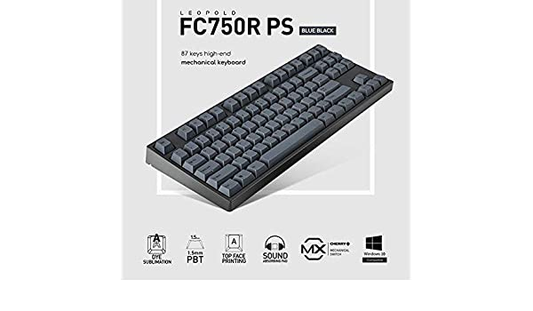 e53328a6fc5 Amazon.com: Leopold FC750R PS (Blue Black Color) 87 Keys High-end  Mechanical Keyboard Cherry MX Switch 1.5mm PBT Sublimated Keycap  (English/Korean, ...