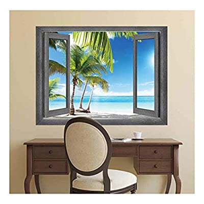 Open Window Creative Wall Decor - A Palm Tree Vacation in Paradise - Wall Mural, Removable Sticker, Home Decor - 24x32 inches
