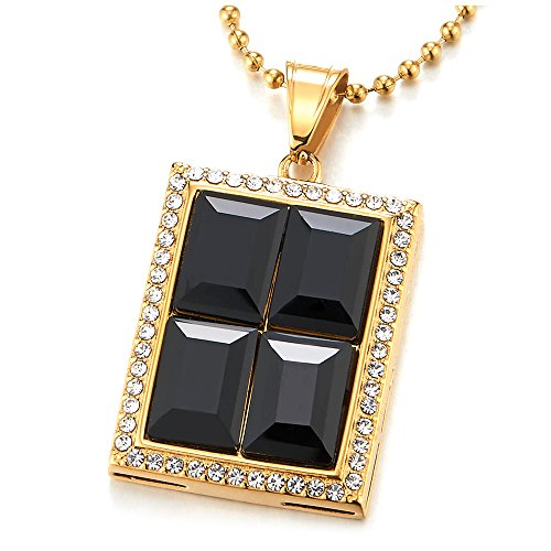 COOLSTEELANDBEYOND Men Women Steel Gold Color Rectangle Medal Pendant Necklace with Black Onyx and Cubic Zirconia