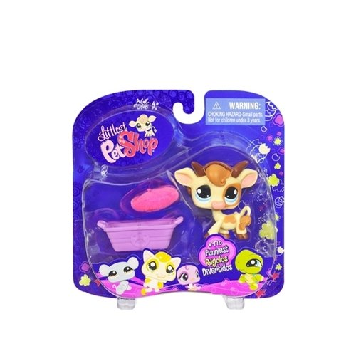 Littlest Pet Shop: Funniest Cow (#970) With Hat And Basket Action Figure