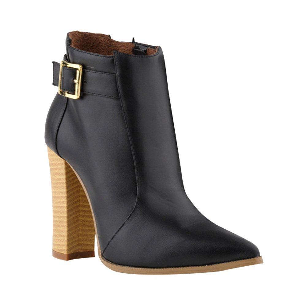 WanYang Frauen Boots High Heel Damen Stiefeletten Absatz Ankle Fruuml;hling und Herbst38 EU(Fu?l?nge:24CM/9.44?|Schwarz