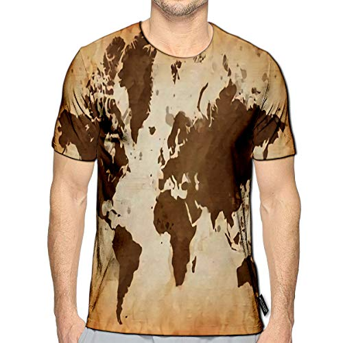 YILINGER 3D Printed T-Shirts Illustrated Map of The World with and Watercolor Spots Grunge Short Sleeve Tops Tees a