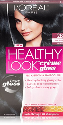 3 Pk, L'Oreal Paris Healthy Look Creme Gloss, Blue Black / Licorice #2B