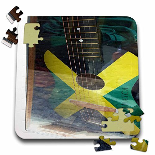Florene Cruise Ships Sites - Image Of Jamaican Guitar Painted In Flag Colors - 10x10 Inch Puzzle (pzl_253699_2)
