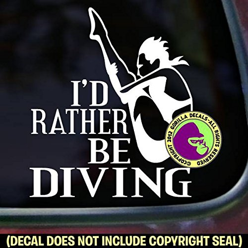 The Gorilla Farm I'd Rather BE Diving Springboard Diver Female Diving Board Dive Decal Vinyl Bumper Sticker Laptop Window Car Trailer Wall Sign White 3.25