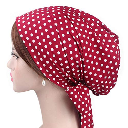 Turban Hat Chemo Cap for Womens, Iuhan Women Retro Country Garden Printing Bow Hat Turban Brim Hat Cap Pile Cap (F)