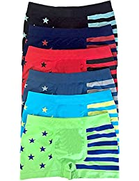 Boy's Pack of 6 Seamless Boxer Briefs Stars and Stripes
