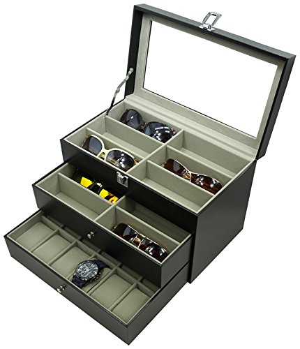 Holding 12 Glasses and 12 Watches, Sunglasses Watch Box Eyewear Accessories Display Storage Case - Customize Sunglasses