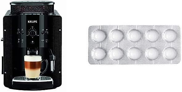 Krups EA8108 CAFETERAS, 1450 W, 1 Cups, Acero Inoxidable, Negro + Espresseria Automatic Pastillas limpiadoras para maquinas de café, Blanco: Amazon.es: Hogar