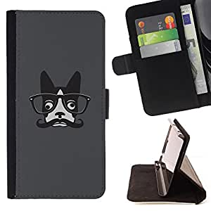For Samsung GALAXY E5/E500F Case,Samsung Galaxy E5 Hipster French Bulldog Art Moustache Glasses Style PU Leather Case Wallet Flip Stand Flap Closure Cover