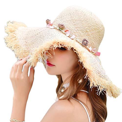 (ZHAS Female Summer Seaside Sunscreen Straw Beach Foldable Big Sun Vacation Travel)