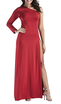 Sorrica Womens One Shoulder Long Sleeve High Split Evening Party Maxi Dress (US.4