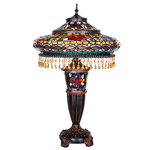 River Of Goods Multicolor Stained Glass And Resin 27.5 Inch High Parisian  Double Lit Table Lamp